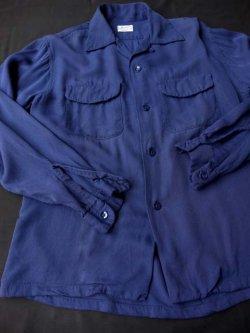画像1: 1950's ループカラーシャツ ネイビー (オープンシャツ ネイビー)