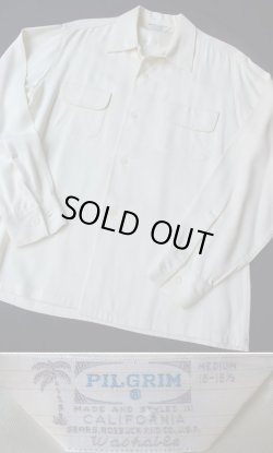 """画像1: 1950's """" Pilgrim (ピルグリム) """" ループカラーシャツ(ギャバジン・オープンシャツ) ホワイト"""