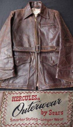 """画像1: 1940〜1950's """" HERCULES (ヘラクレス) """" ホースハイドレザー カーコート"""