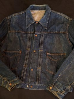 画像1: 〜1960's UNKNOWN DENIM JKT / NO-FLAP 2POCKET STYLE (YEL×ORG STITCH)