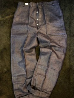 画像1: 1930's DEAD STOCK / D.BLUE FRENCH LINEN WORK TROUSERS / W.BUCKLE BACK