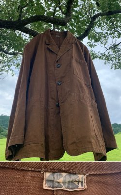 画像1: 1940's 《 CC 41 》 / BROWN DRILL 3BUTTON  LAPELED WORK JKT