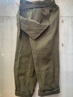 画像1: 1950's〜 DEAD STOCK / FRENCH ARMY APRON PANTS / MOTORCYCLE PANTS (1)