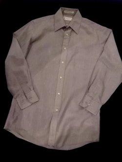 """画像1: 1980's  """" イヴ・サンローラン (Yves Saint LAURENT ) """" メンズ L/S  ドレス シャツ  ベビーブルー(2)"""