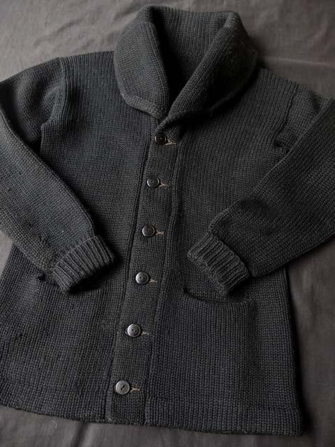 画像1: 1930's ショールカラー カーディガン ブラック ...